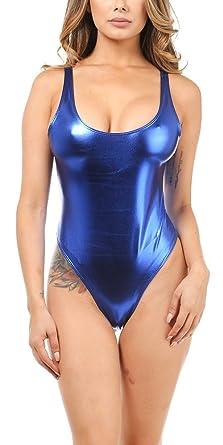 6f5ee3edc Karies Womens Sexy Backless Shiny Metallic Spandex Tank Thong  Bodysuit(NJ3353) (Small