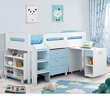 Happy Beds Kimbo White And Sky Blue Finished Sleep Station Childrens
