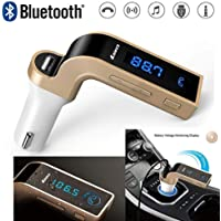 JN-STORE's CARG7 Bluetooth FM Transmitter Universal Adapter Car Kit with Cal, U-Disk Reading and USB Charger for Smartphones