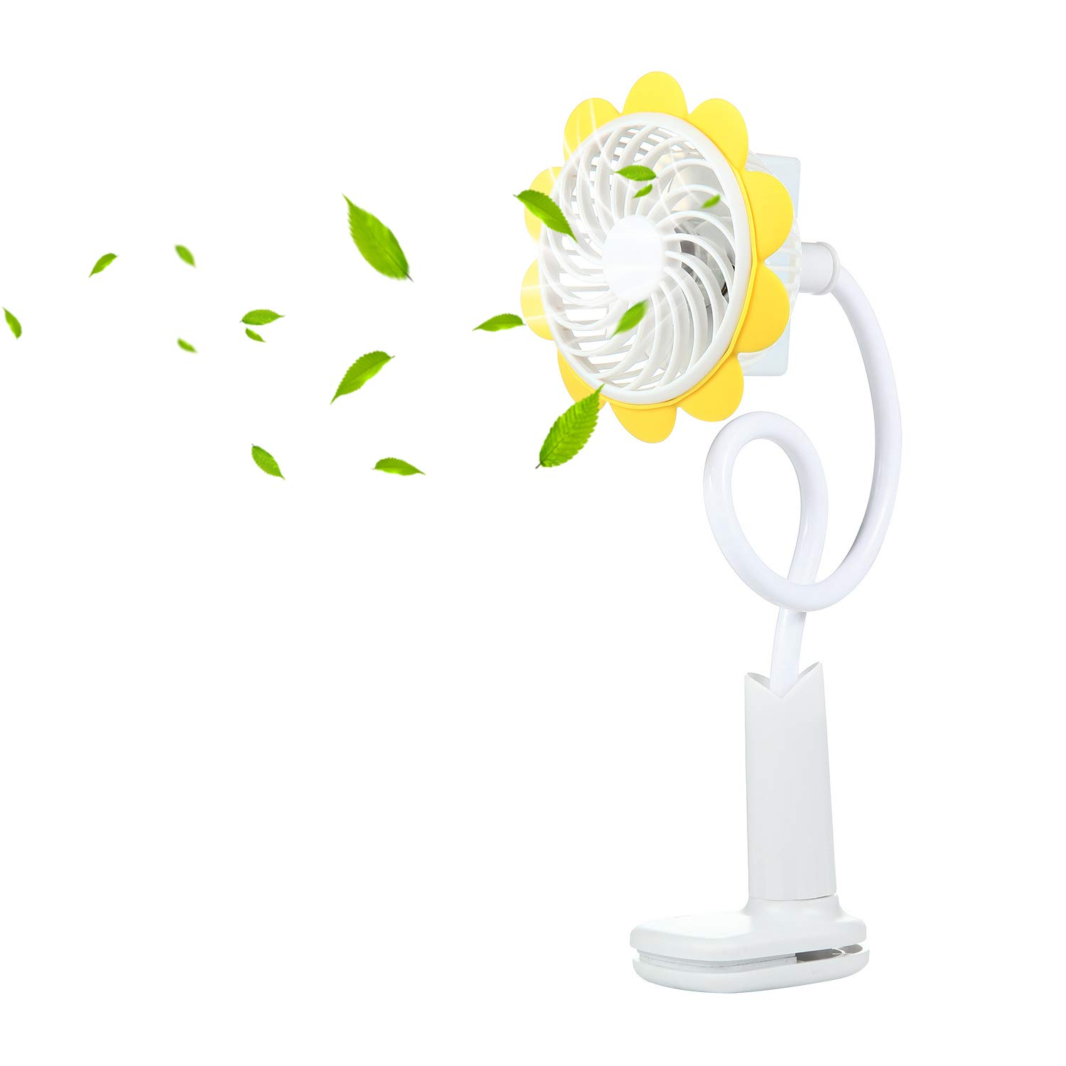 Baby Stroller Fan FOONEE USB Clip Fan 360° Adjustable Clip Desk Fan Sunflower Shaped Clip Fan Rechargeable Clip Mini Fan Stroller Fan Clip on Bed Desk