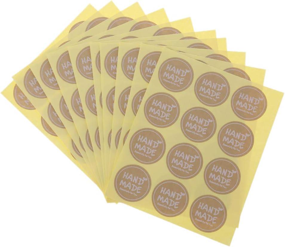 120 Pezzi Rotonda Fatta a Mano a Forma di Torta Confezione Regalo Etichetta Adesiva Adesivo Kraft JERKKY Etichette adesive in Carta Artigianale