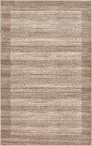 Unique Loom Del Mar Collection Contemporary Transitional Beige Area Rug (5' 0 x 8' - Rectangle Taupe Rug