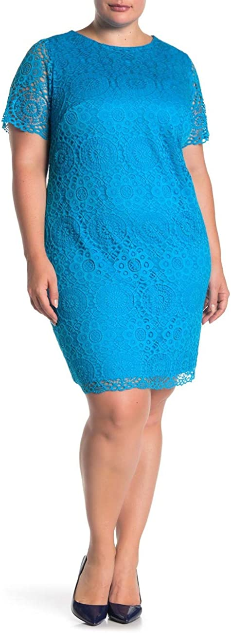 Laundry by Shelli Segal Lace Dress Plus Size 18W Turquoise