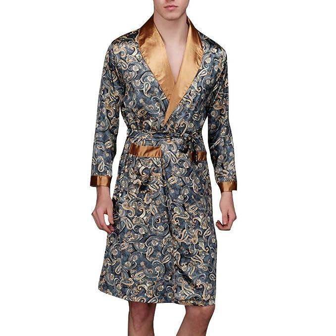 Kimono De Los Hombres De Primavera Y Verano Moda De Moda Bata De Baño De Satén De Baño De Los Hombres De Seda Bata Larga Robe Estilo De Dormir: Amazon.es: ...