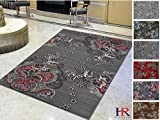 Handcraft Rugs - Lava Red/Gray/Silver/Black/Abstract Area Rug Modern Contemporary Flower-patterned Design