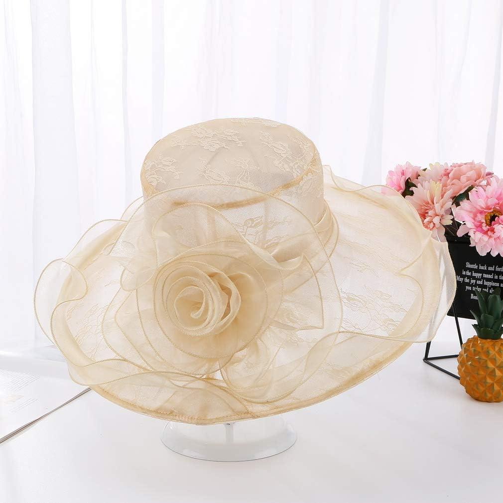 COMVIP Chapeau Fleur Femme Large Bord /Él/égant pour Voyage Derby Mariage Soir/ée