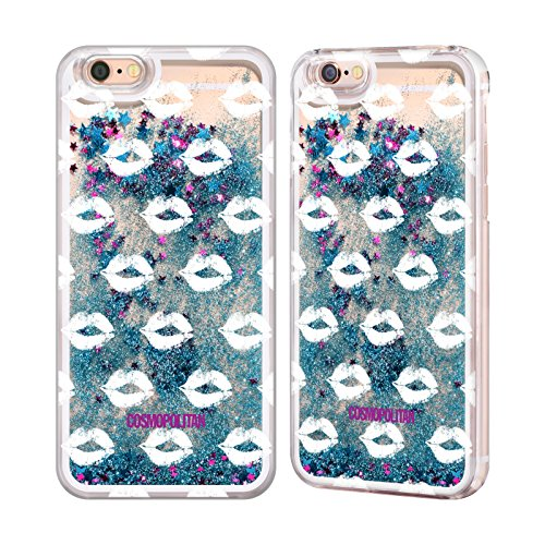 Official Cosmopolitan Silver Kiss Mark Sky Blue Liquid Glitter Case Cover for Apple iPhone 6 / 6s