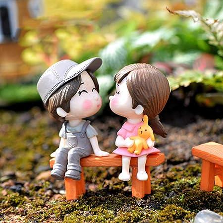 FairOnly - Silla para amantes en miniatura para decoración de jardín, diseño de muñecos: Amazon.es: Hogar