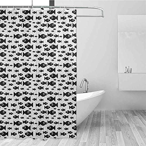 SONGDAYONE Modern Shower Curtain Fish Doodle Style Cartoon Aquatic Animal Silhouettes with Giant Eyes Monochrome Design Draped Design Black White W72 xL72