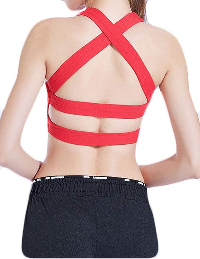 GH Womens Cross Push Up Yoga Bra Workout Fitness T-Shirt Bra Outdoor Breathable Sport Bra