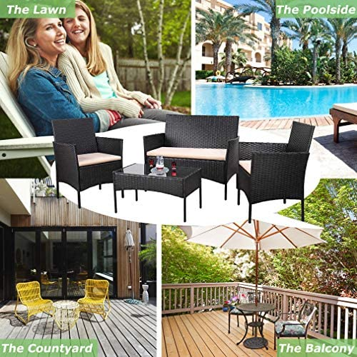 616oksZh75L. AC Vnewone Outdoor Patio Furniture Sets 4 Pieces Patio Set Rattan Chair Wicker Sofa Conversation Set Patio Chair Wicker Set with Table Backyard Lawn Porch Garden Poolside Balcony Furniture (Black)    ☺☺Reminder and Notices: