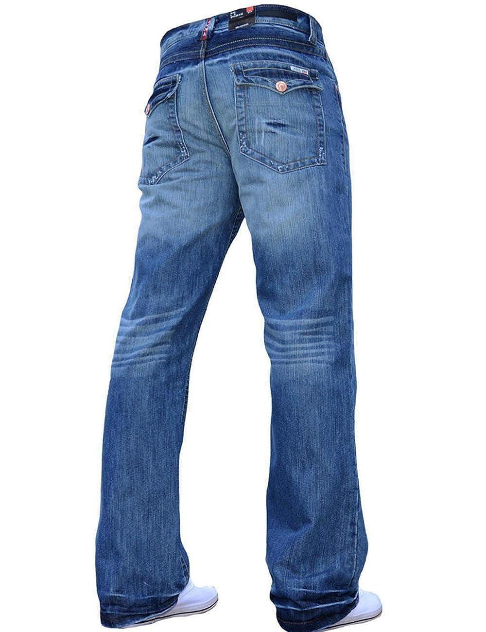 4eef7f2ef26 APT BNWT Mens Bootcut Flared Big King Size Wide Leg Blue Denim Jeans All  Waist  Amazon.co.uk  Clothing