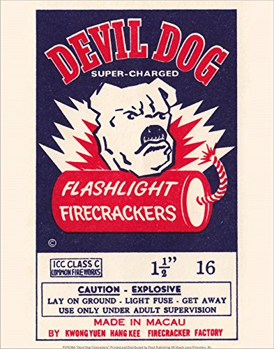 Devil Dog Firecrackers Laminated Art Print, 8 x 10 - Dog Firecracker