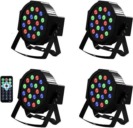 4 unidades de 18 LED por LED DMX Proyector LED Luces de escena ...