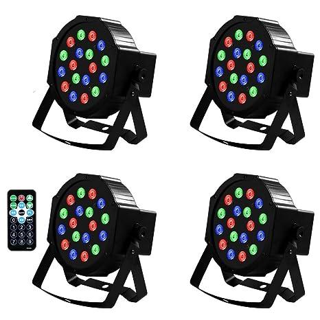4 unidades de 18 LED por LED DMX Proyector LED Luces de ...