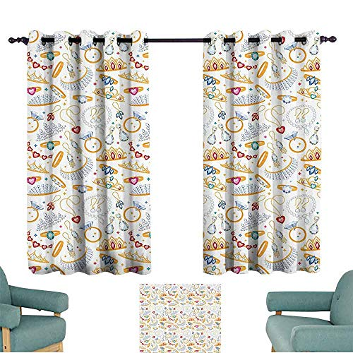 DILITECK Decor Curtains Pearls Decor Collection Pattern with Jewelry Accessories Diamond Rings Tiara Earring Necklace Stones Image Tie Up Window Drapes Living Room W55 xL63 White Yellow