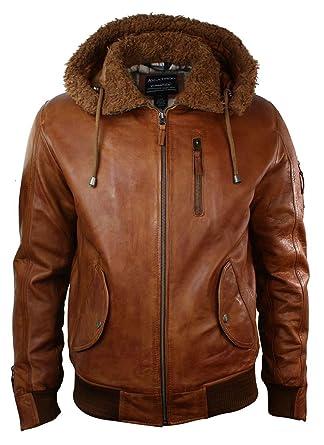 Blouson cuir capuche marron