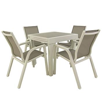 Conjunto para jardín | Mesa Extensible 80/160 cm y 4 ...