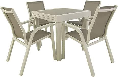 Conjunto para jardín, Mesa Extensible 80/160 cm y 4 sillones apilables, Aluminio Blanco, Textilene taupé, 4 plazas: Amazon.es: Jardín
