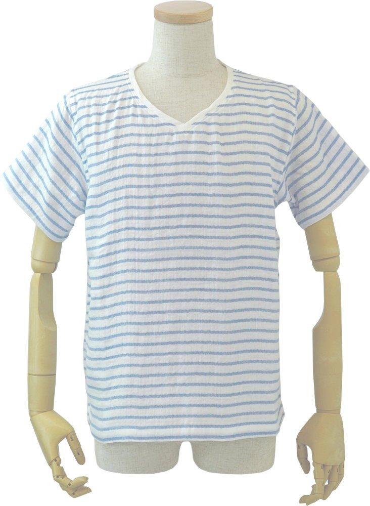 内野 リラックスホームウェア ブルー メンズTシャツ マシュマロガーゼボーダー 綿100% RTS95319 XL B B07CCLYVGK