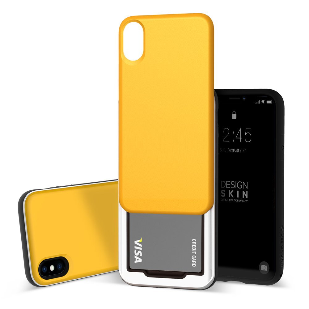 buy popular 71648 4d864 Design Skin iPhone X Sliding Card Holder Case, Extreme Heavy Duty Triple  Layer Bumper Protection Wallet Cover with Storage Slot for Slider ...