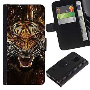 NEECELL GIFT forCITY // Billetera de cuero Caso Cubierta de protección Carcasa / Leather Wallet Case for Samsung Galaxy S5 V SM-G900 // Fierce Agresivo Ataque Tigre