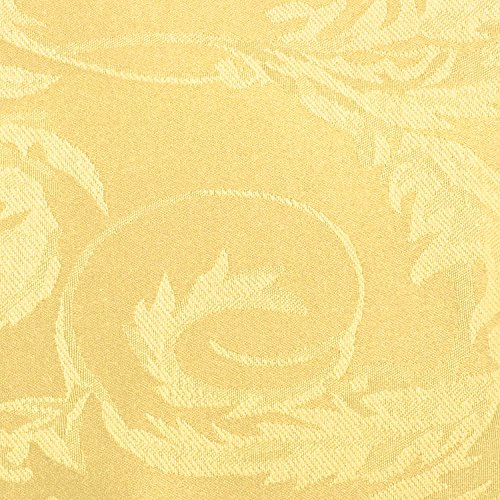 Ultimate Textile (5 Pack) Damask Melrose 60 x 120 Inch Oval Tablecloth - Home Dining Collection - Floral Leaf Scroll Jacquard Design, Gold by Ultimate Textile (Image #2)
