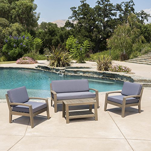 Grenada Outdoor Grey Finished Acacia Wood 4 Piece Chat Set with Dark Grey Water Resistant Cushions