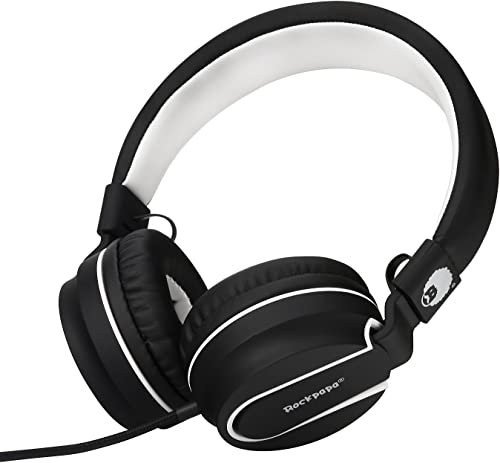 Rockpapa 950 Stereo Lightweight Foldable Headphones Adjustable Headband with Microphone 3.5mm for Cellphones Smartphones iPhone Tablets Laptop Computer Mp3 4 DVD Black White