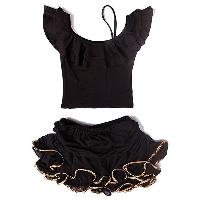 KINDOYO Optimal Latin Traje de Baile Conjunto Sling OFF-hombro Blusa + Mini Falda para