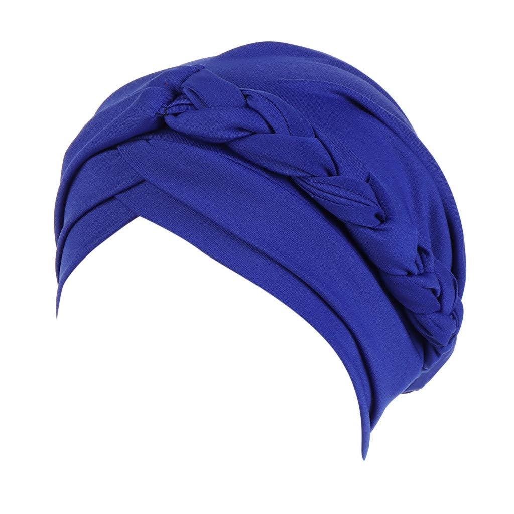 Sallydream Mujeres S/ólido Trenza Sombrero de la India Musulm/án con Volantes C/áncer Chemo Beanie Turbante Wrap Cap HS-1453