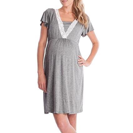 Vestido para mujer embarazada, WYXlink, para mujer, con encaje, casual, manga