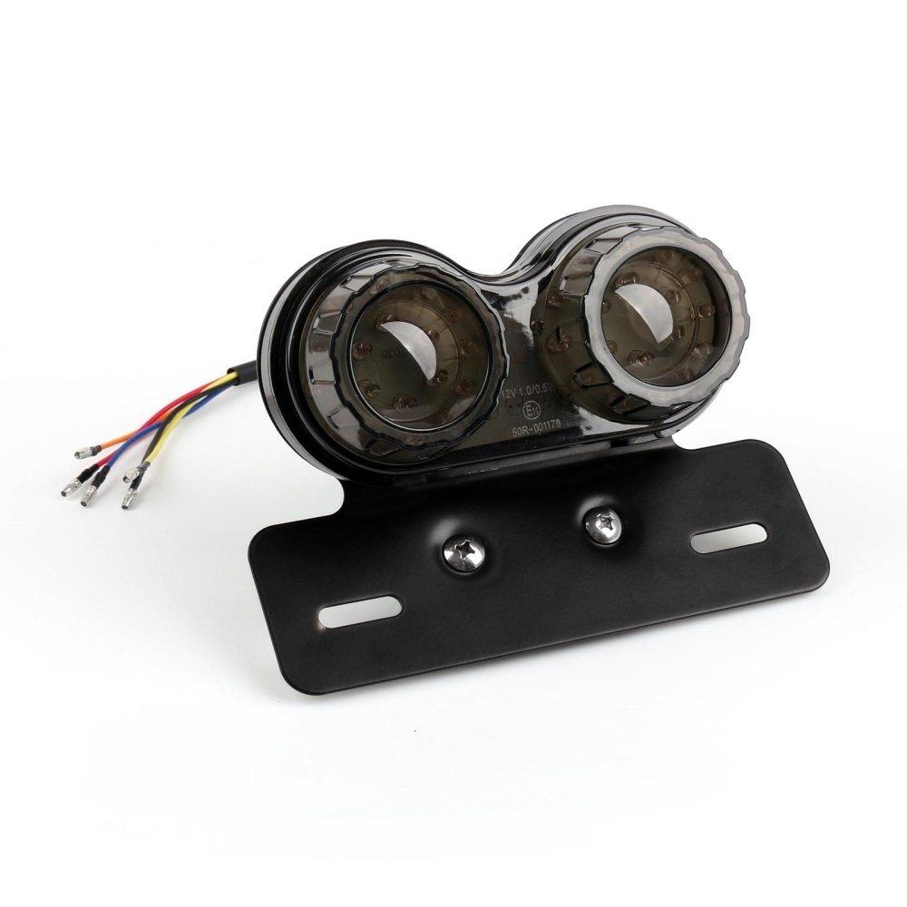 Fanale posteriore a LED per motocicli Retrofit Integrato a doppio tondo per luci di stop per fari luminosi Passo luce 12V 40W con licenza per ATVs Dirt Bike Knight Scooter Cruiser buggy