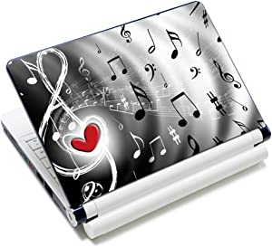 "iColor Laptop Skin Sticker Decal Covers 12"" 13"" 13.3"" 14"" 15"" 15.4"" 15.6 inch Laptop Skin Sticker Cover Art Decal Protector Notebook PC (Music & Red Heart)"