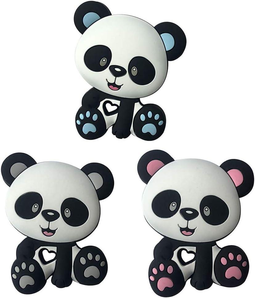 Rose JOYKK Panda Perles B/éb/é Jouets Silicone Anneau De Dentition Sucette Dentition Bricolage Cha/îne Mordre M/âcher Pendentif pour Enfants Nourrissons