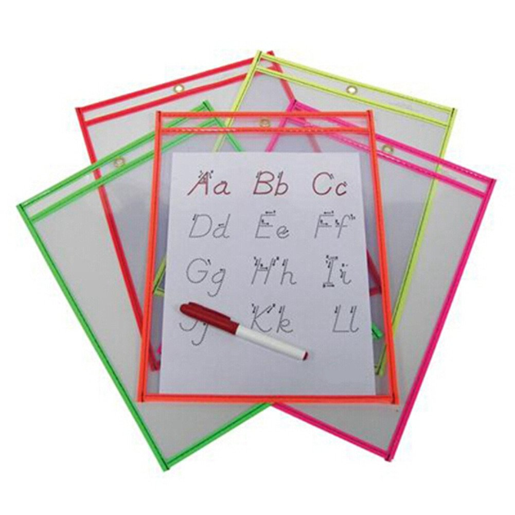 Unetox Dry Erase Pockets Reusable PVC Stitched Shop Ticket Holders 9 x 12 inches Assorted Neon Colors 10-Pack