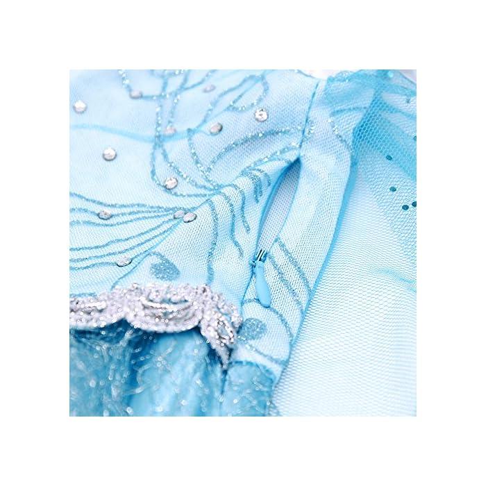 616op9CymcL Vestido de princesa para niñas con adornos de pedrería brillante; Manga larga y cuello redondo diseñado, lado de la cremallera de cierre; Algodón, poliéster