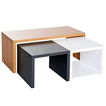 Lot De 3 Tables Basses Gigognes Encastrables 110l X 50l X 45h Cm Et 50l X 50l X 40h Cm Coloris Hetre Noir Et Blanc 33