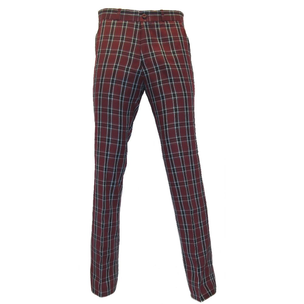 60s – 70s Mens Bell Bottom Jeans, Flares, Disco Pants Relco Mens Burgundy Tartan Check STA-Press Trousers  AT vintagedancer.com
