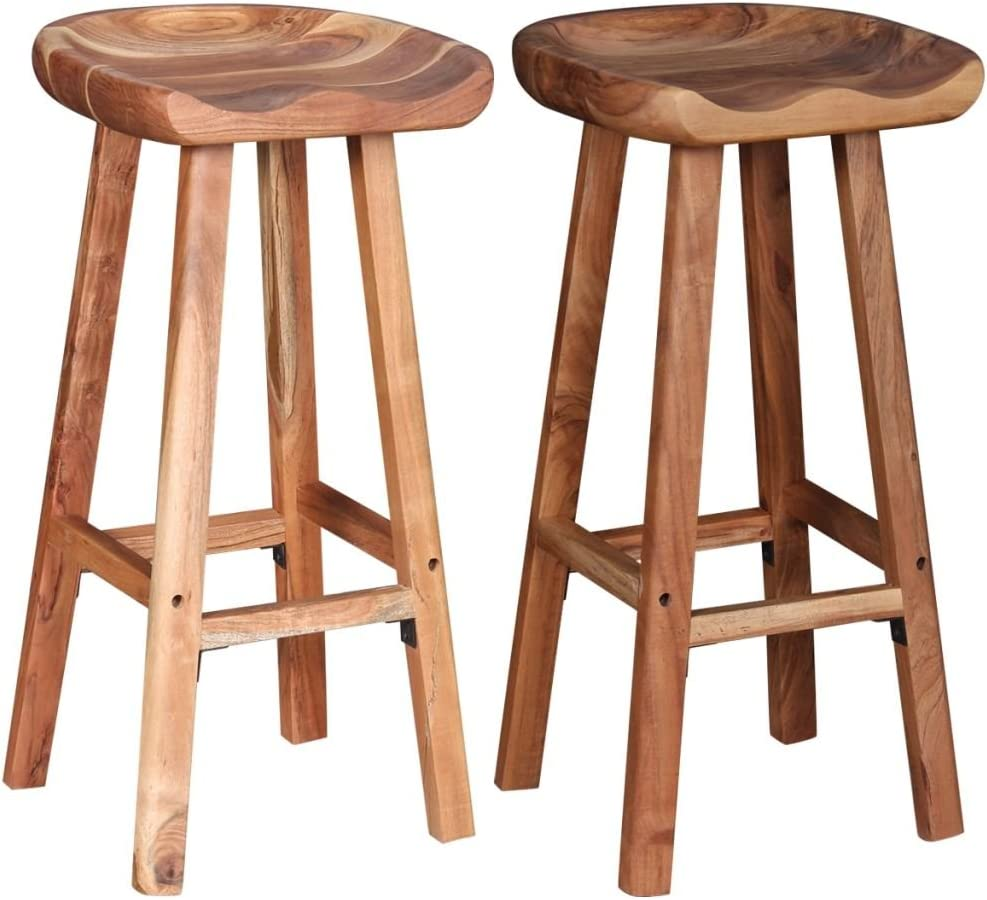 Festnight Wooden Bar Stools Chair for Kitchen Dining Stool Set of ...