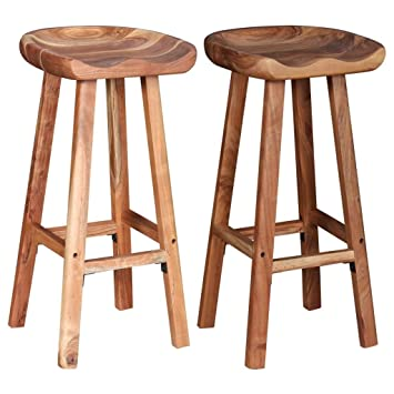 Festnight Wooden Bar Stools Chair For Kitchen Dining Stool Set Of 2
