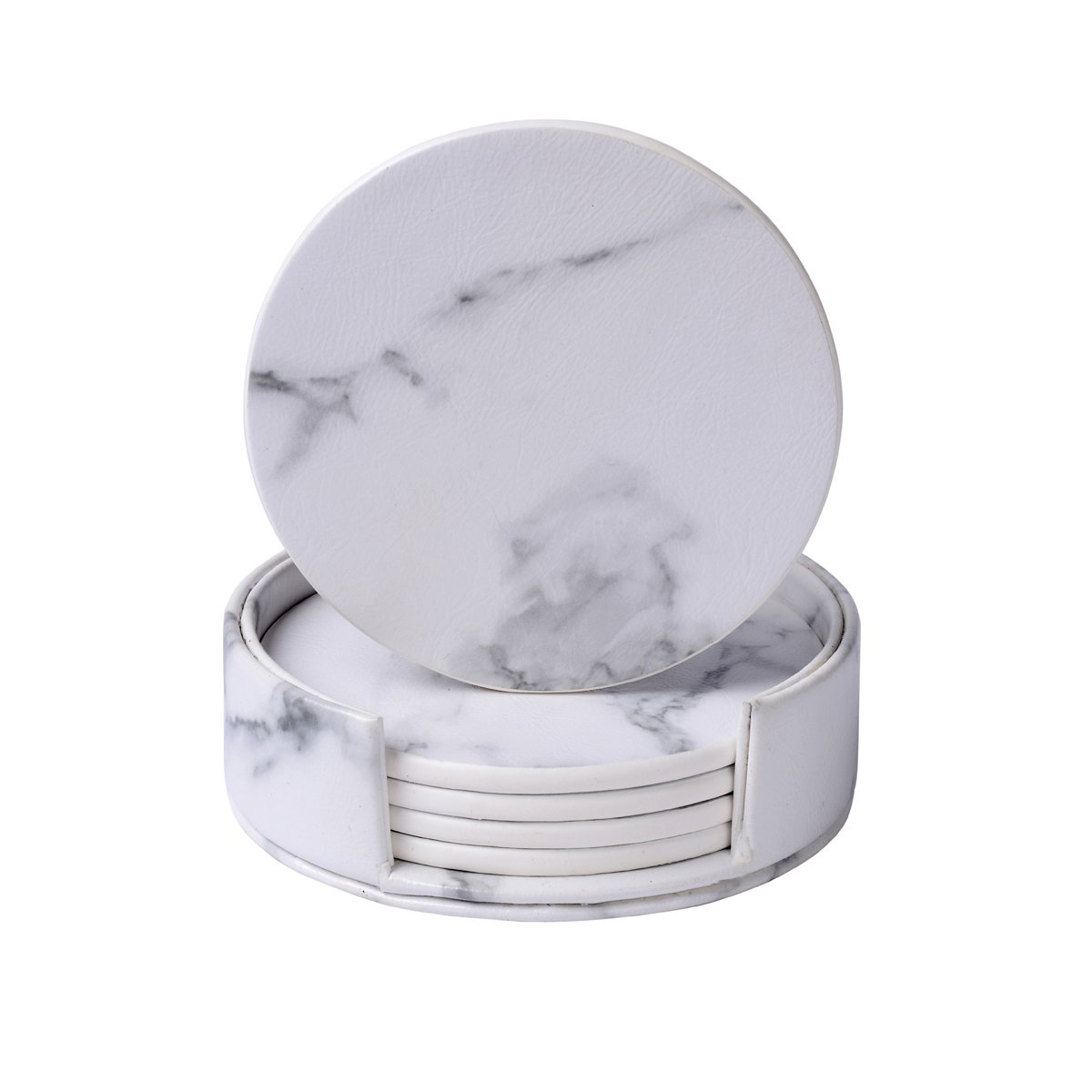 Leather Coasters with Holder Set,Coasters for Drinks,Round Cup Mat Pad for Home and Kitchen Use (Marble)