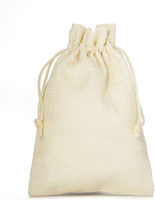 10 bolsas de tela con look de yute, tamaño 30x20 cm, bolsa para regalo, bolsita regalo (crema): Amazon.es: Juguetes y juegos
