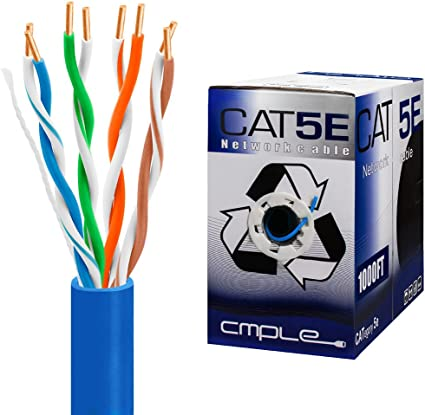 Amazon Com Cmple Cat5e Gigabit Ethernet Cable Network Bulk Unshielded Twisted Pair Utp Solid 24awg Cmr 350 Mhz 1000 Feet Blue Computers Accessories