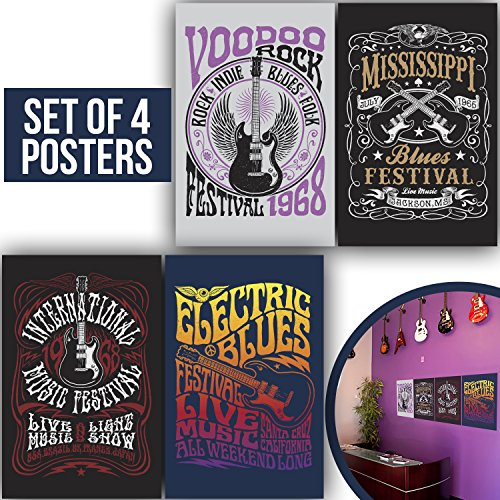 Made With Tone, Limited Edition: ROCK & ROLL Festival Band Posters, Set Of Four 11X17 Vintage Music and Old School Electric Guitar Poster of 1MM Thick, Rockfest Wall art for Musicians and Decor!