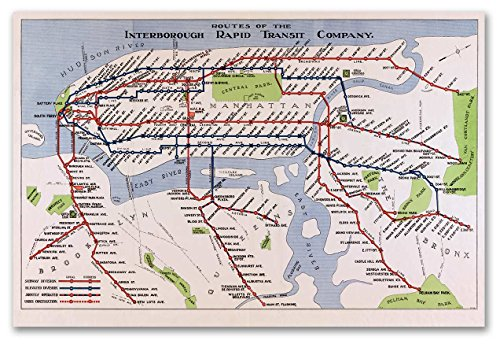 MAP of the New York City Interborough Rapid Transit Co. Subway circa 1924 - measures 24