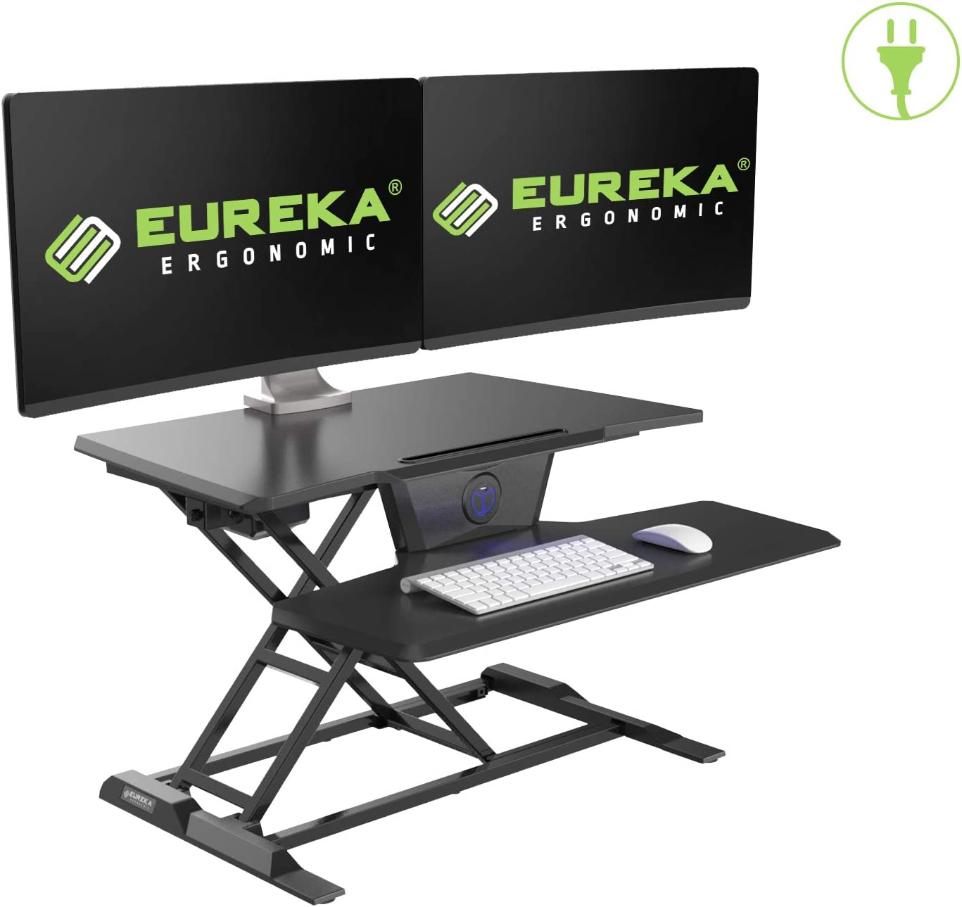 EUREKA ERGONOMIC Electric Standing Desk Converter, 31 W Sit to Stand Desk Riser, Tabletop Computer Workstation to Support Dual Monitors, Smooth Silent Height Adjustment, Black