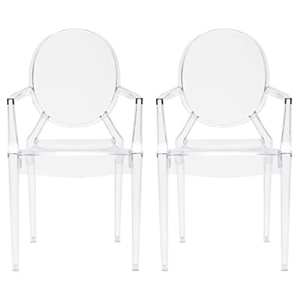 Poly And Bark Burton Arm Chair In Clear (Set Of 2)