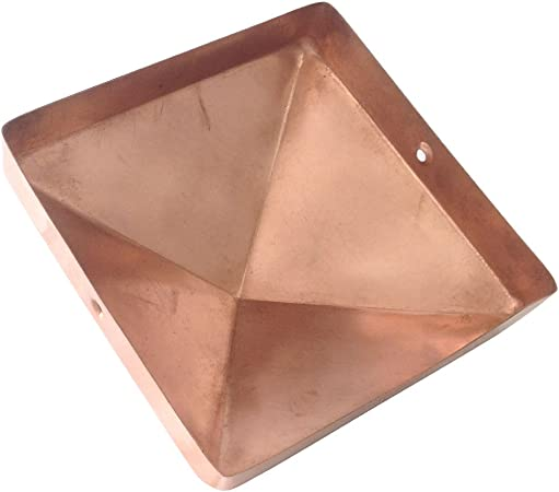 Solid Copper Will Patina Naturally Extended Lip 4x6 Copper Flat Top Post Cap by Captiva