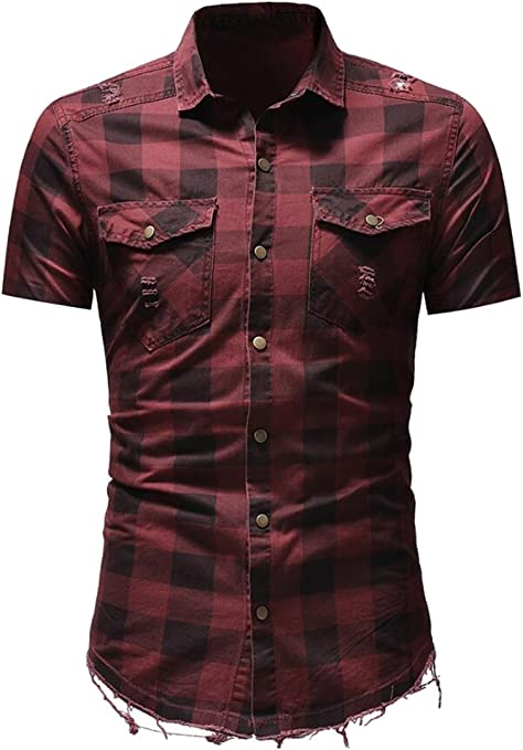 YYG Men Loose Fit Vintage Long Sleeve Casual Plaid Button Up Shirt